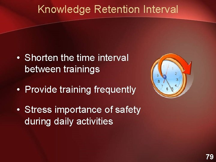 Knowledge Retention Interval • Shorten the time interval between trainings • Provide training frequently