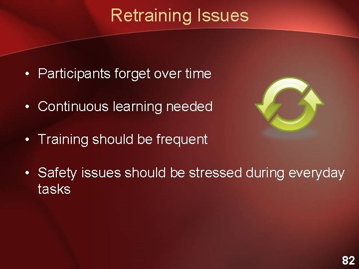 Retraining Issues • Participants forget over time • Continuous learning needed • Training should