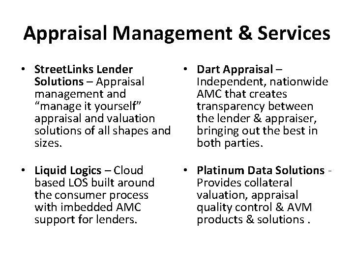 Appraisal Management & Services • Street. Links Lender • Dart Appraisal – Solutions –