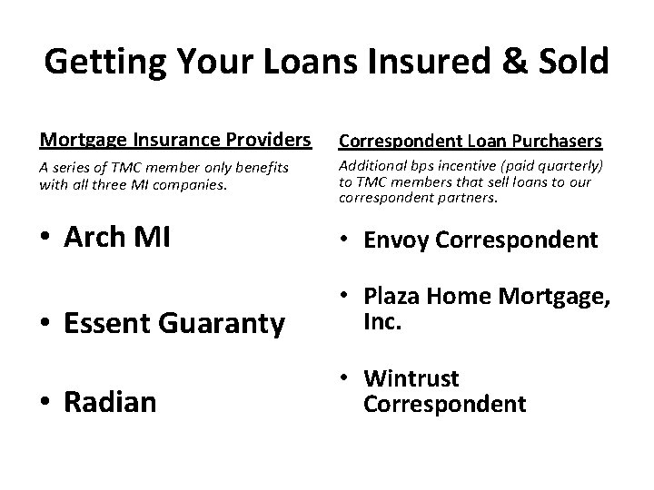 Getting Your Loans Insured & Sold Mortgage Insurance Providers Correspondent Loan Purchasers A series
