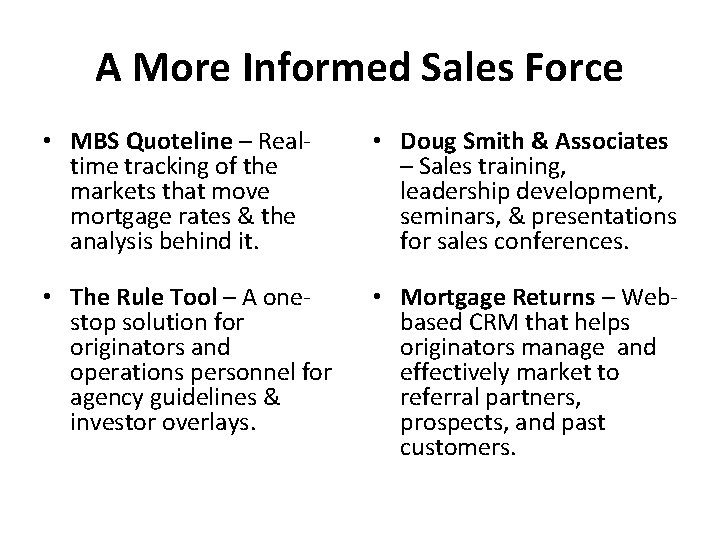 A More Informed Sales Force • MBS Quoteline – Realtime tracking of the markets