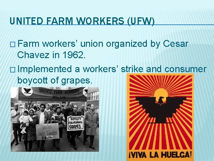 UNITED FARM WORKERS (UFW) � Farm workers' union organized by Cesar Chavez in 1962.