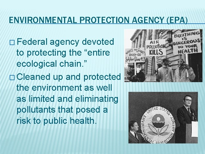 """ENVIRONMENTAL PROTECTION AGENCY (EPA) � Federal agency devoted to protecting the """"entire ecological chain."""