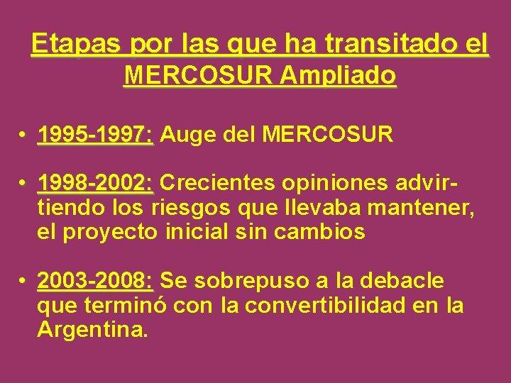 Etapas por las que ha transitado el MERCOSUR Ampliado • 1995 -1997: Auge del