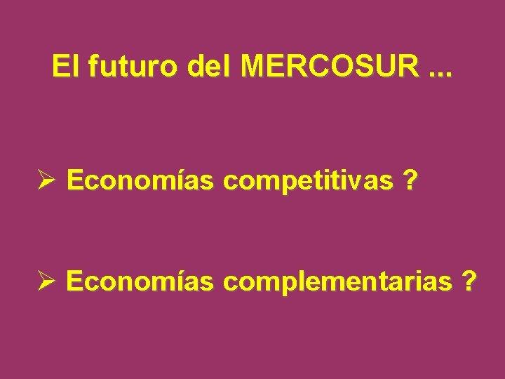 El futuro del MERCOSUR. . . Ø Economías competitivas ? Ø Economías complementarias ?