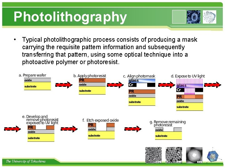 Photolithography • Typical photolithographic process consists of producing a mask carrying the requisite pattern
