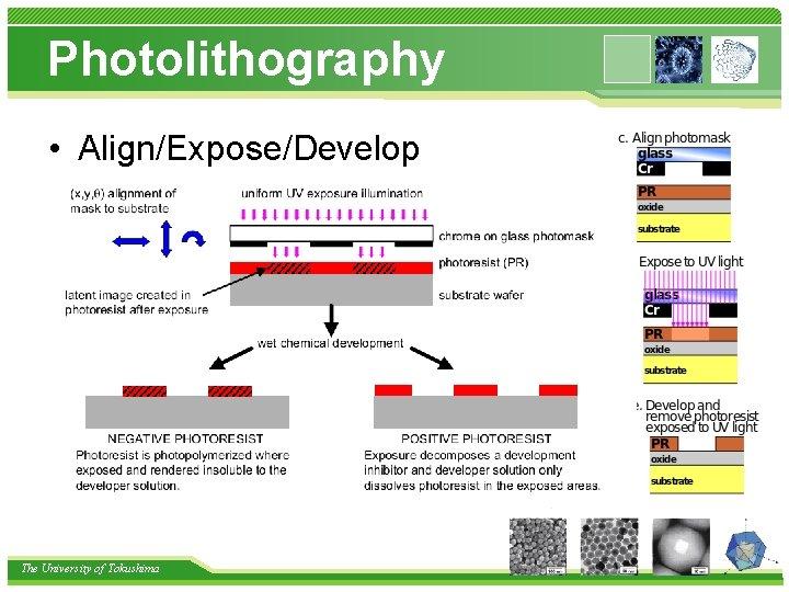 Photolithography • Align/Expose/Develop The University of Tokushima