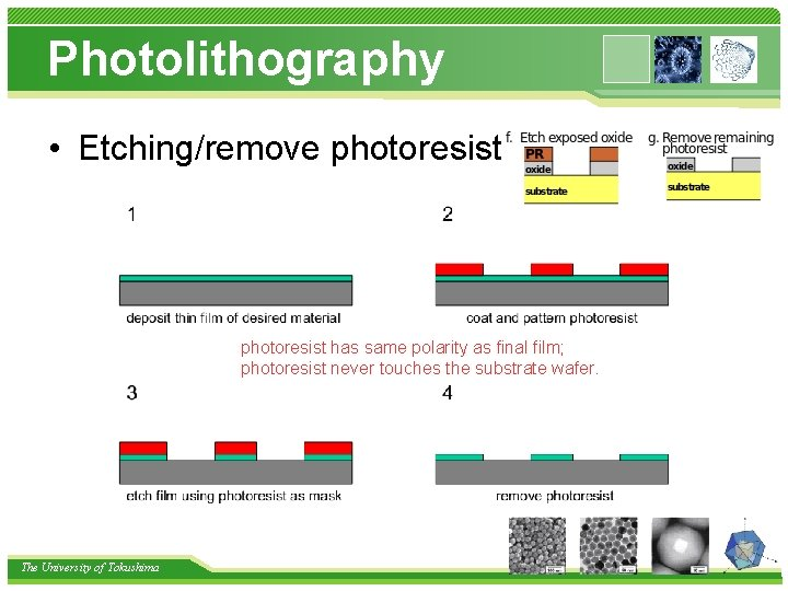 Photolithography • Etching/remove photoresist has same polarity as final film; photoresist never touches the