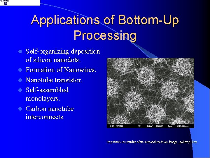 Applications of Bottom-Up Processing l l l Self-organizing deposition of silicon nanodots. Formation of