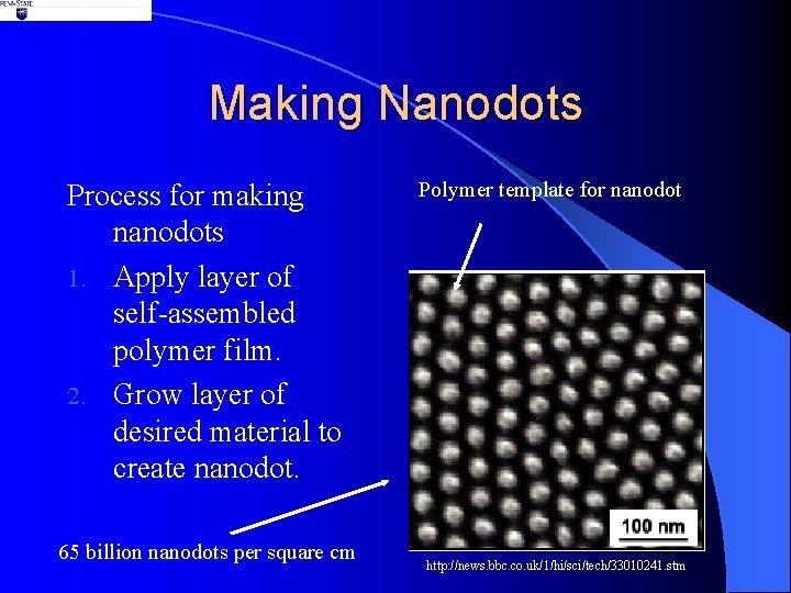 Making Nanodots Process for making nanodots 1. Apply layer of self-assembled polymer film. 2.