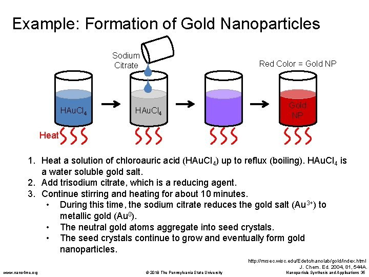 Example: Formation of Gold Nanoparticles Sodium Citrate HAu. Cl 4 Red Color = Gold