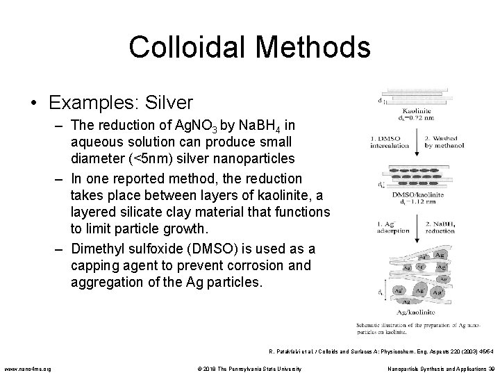 Colloidal Methods • Examples: Silver – The reduction of Ag. NO 3 by Na.