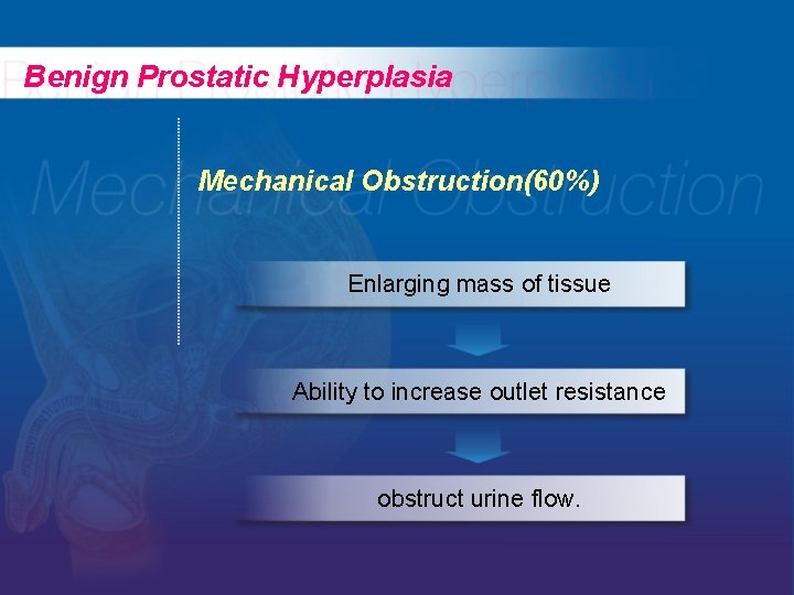 Benign Prostatic Hyperplasia Mechanical Obstruction(60%) Enlarging mass of tissue Ability to increase outlet resistance