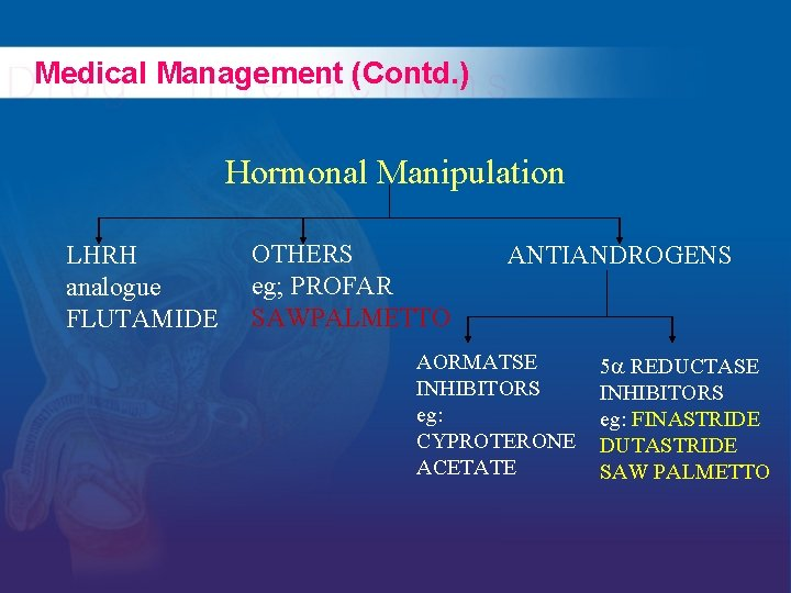 Medical Management (Contd. ) Hormonal Manipulation LHRH analogue FLUTAMIDE OTHERS eg; PROFAR SAWPALMETTO ANTIANDROGENS
