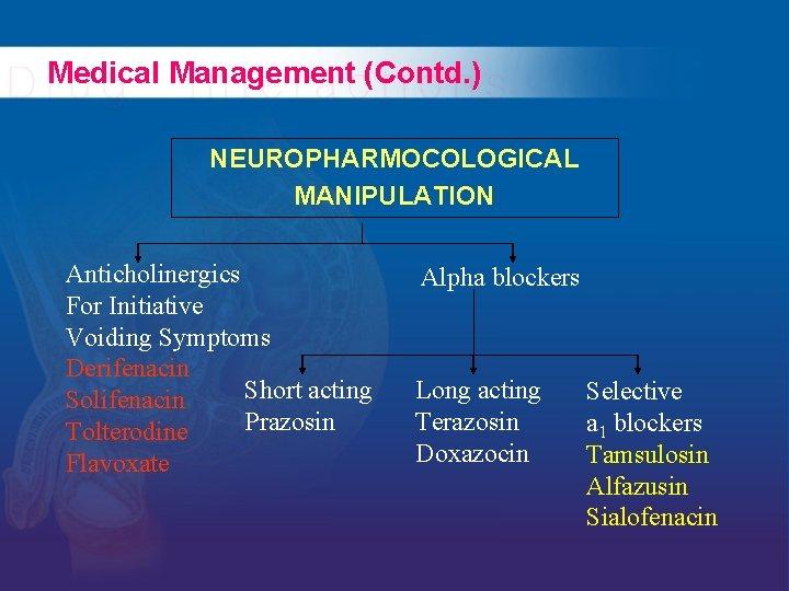 Medical Management (Contd. ) NEUROPHARMOCOLOGICAL MANIPULATION Anticholinergics For Initiative Voiding Symptoms Derifenacin Short acting