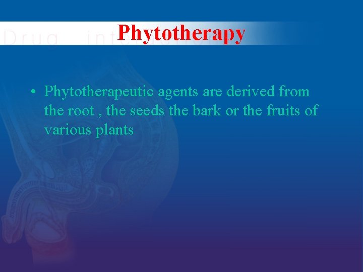 Phytotherapy • Phytotherapeutic agents are derived from the root , the seeds the bark