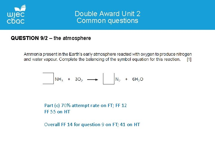 Double Award Unit 2 Common questions QUESTION 9/2 – the atmosphere Part (c) 70%
