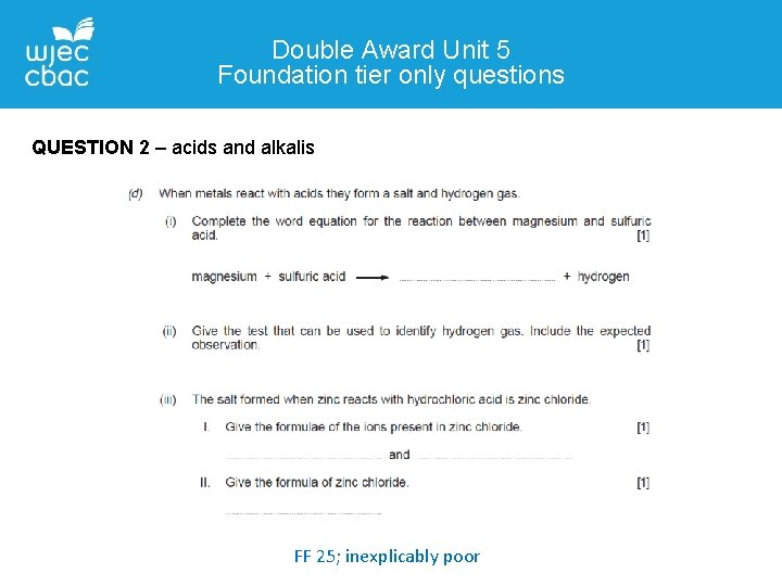 Double Award Unit 5 Foundation tier only questions QUESTION 2 – acids and alkalis