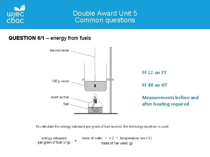 Double Award Unit 5 Common questions QUESTION 6/1 – energy from fuels FF 22