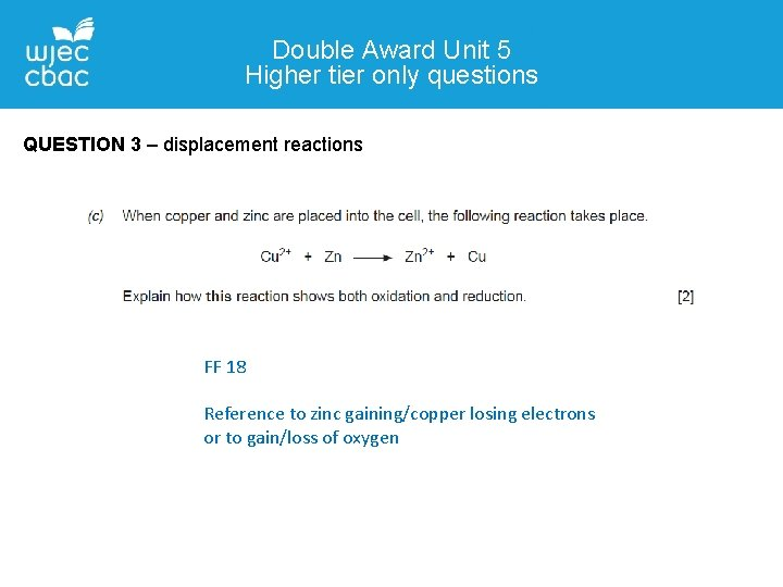 Double Award Unit 5 Higher tier only questions QUESTION 3 – displacement reactions FF