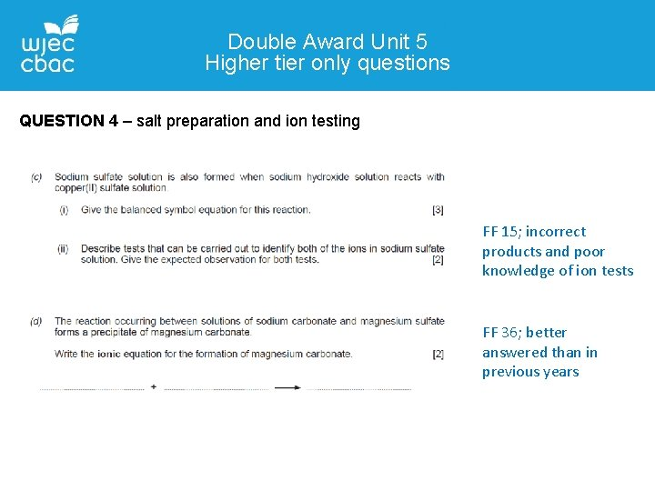 Double Award Unit 5 Higher tier only questions QUESTION 4 – salt preparation and