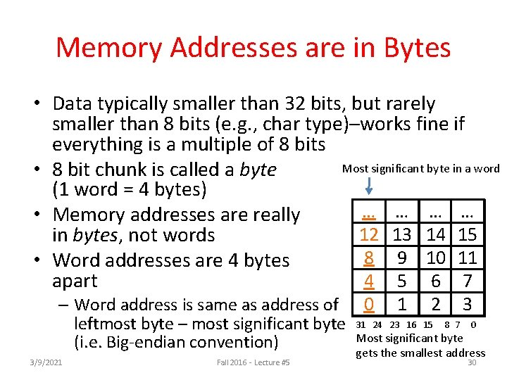 Memory Addresses are in Bytes • Data typically smaller than 32 bits, but rarely