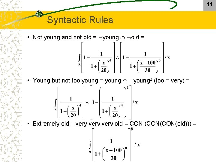 11 Syntactic Rules • Not young and not old = young old = •