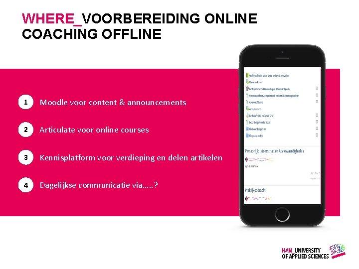 WHERE_VOORBEREIDING ONLINE COACHING OFFLINE 1 Moodle voor content & announcements 2 Articulate voor online