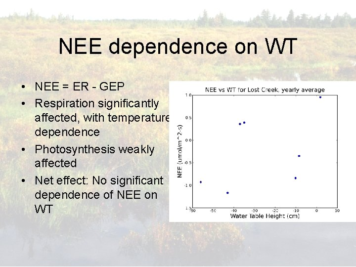 NEE dependence on WT • NEE = ER - GEP • Respiration significantly affected,