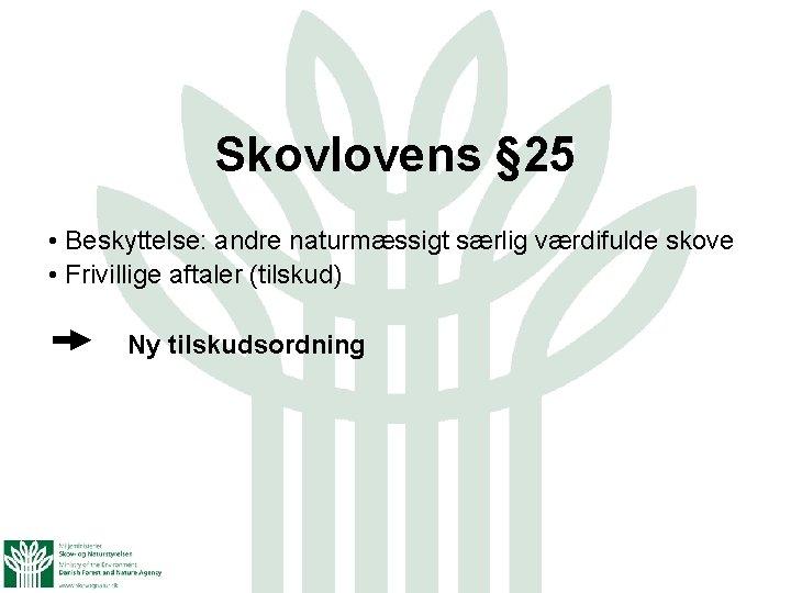 Skovlovens § 25 • Beskyttelse: andre naturmæssigt særlig værdifulde skove • Frivillige aftaler (tilskud)