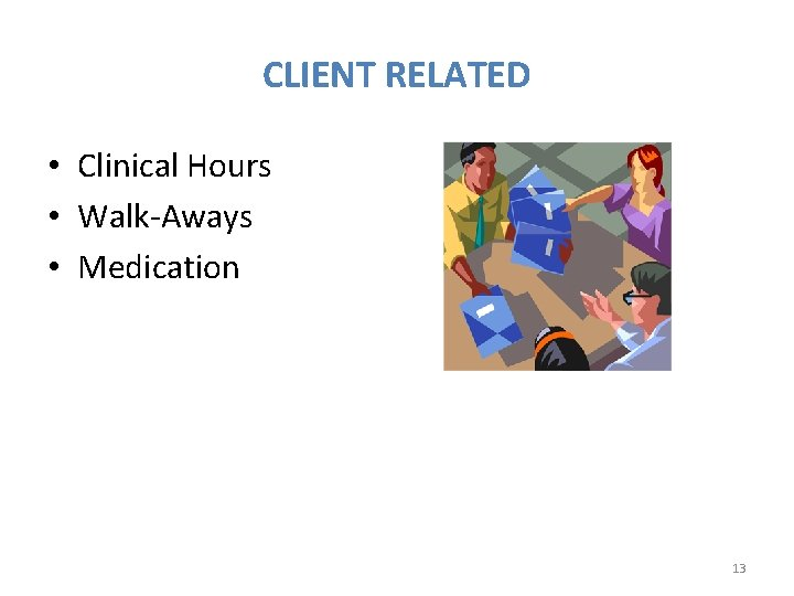 CLIENT RELATED • Clinical Hours • Walk-Aways • Medication 13