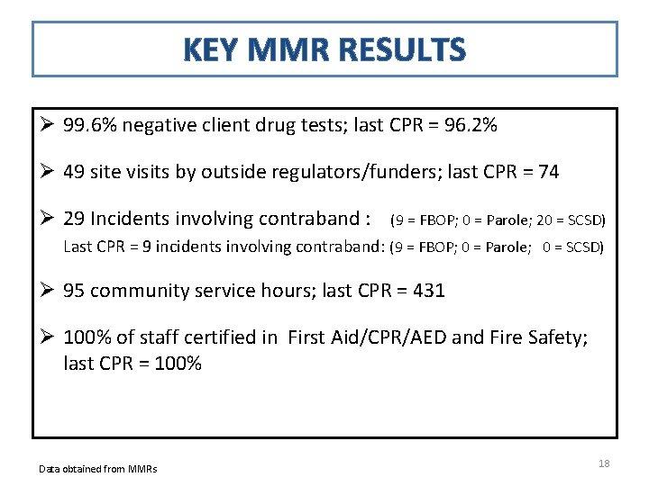 KEY MMR RESULTS Ø 99. 6% negative client drug tests; last CPR = 96.