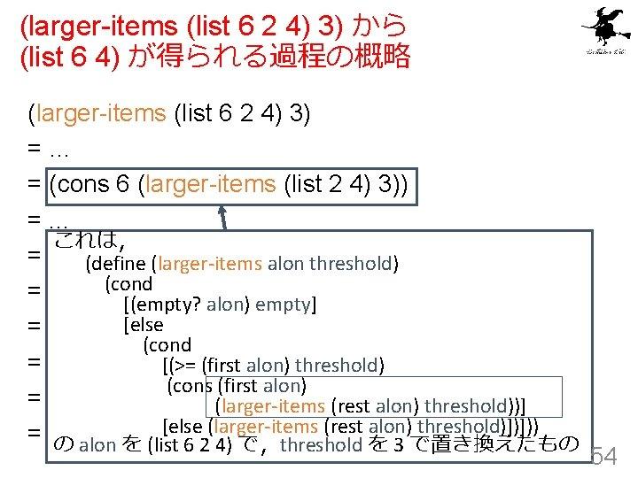 (larger-items (list 6 2 4) 3) から (list 6 4) が得られる過程の概略 (larger-items (list 6