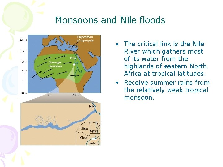 Monsoons and Nile floods • The critical link is the Nile River which gathers