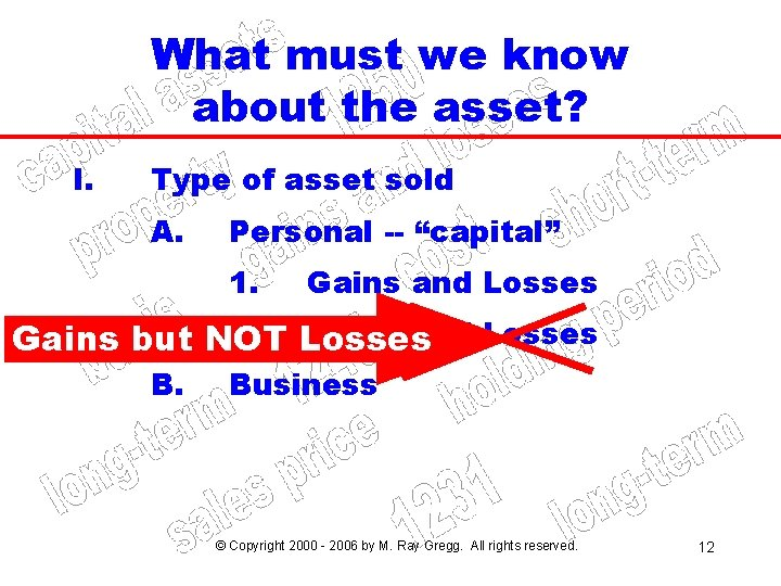 What must we know about the asset? I. Type of asset sold A. Personal