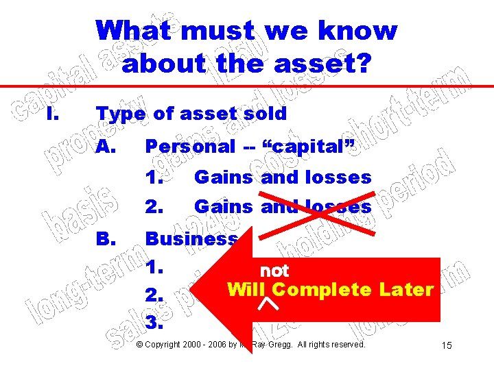 What must we know about the asset? I. Type of asset sold A. B.