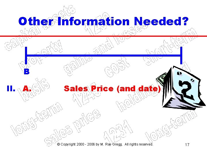 Other Information Needed? B II. A. A Sales Price (and date) © Copyright 2000