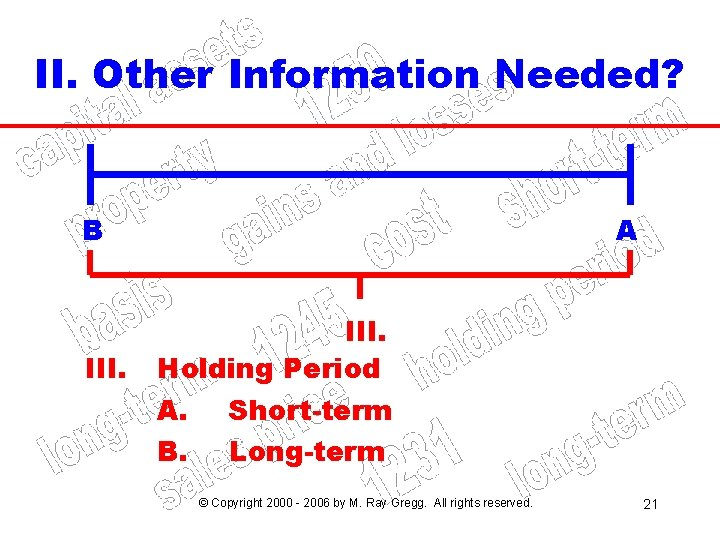 II. Other Information Needed? B III. A III. Holding Period A. B. Short-term Long-term
