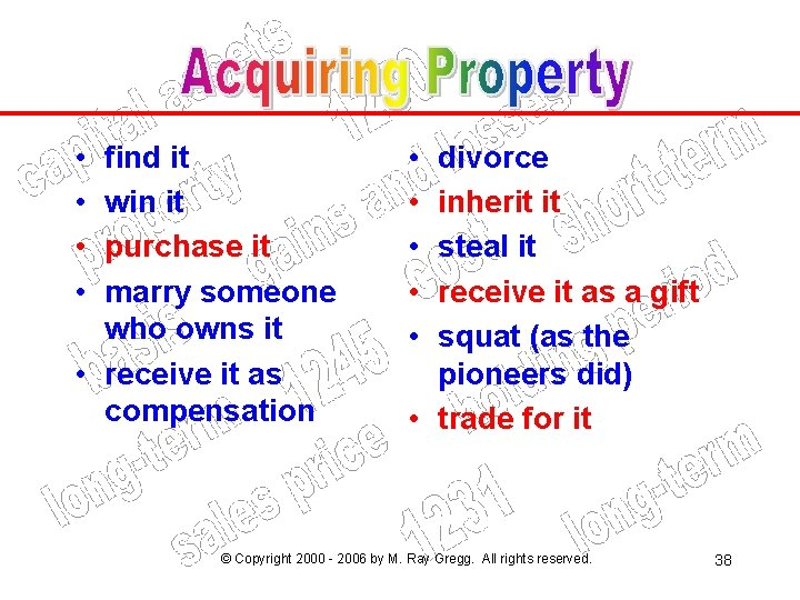 • • find it win it purchase it marry someone who owns it
