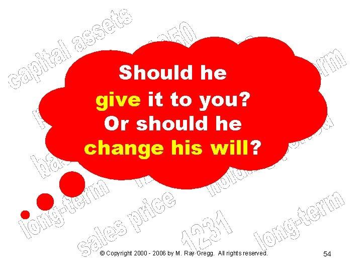 Should he give it to you? Or should he change his will? © Copyright
