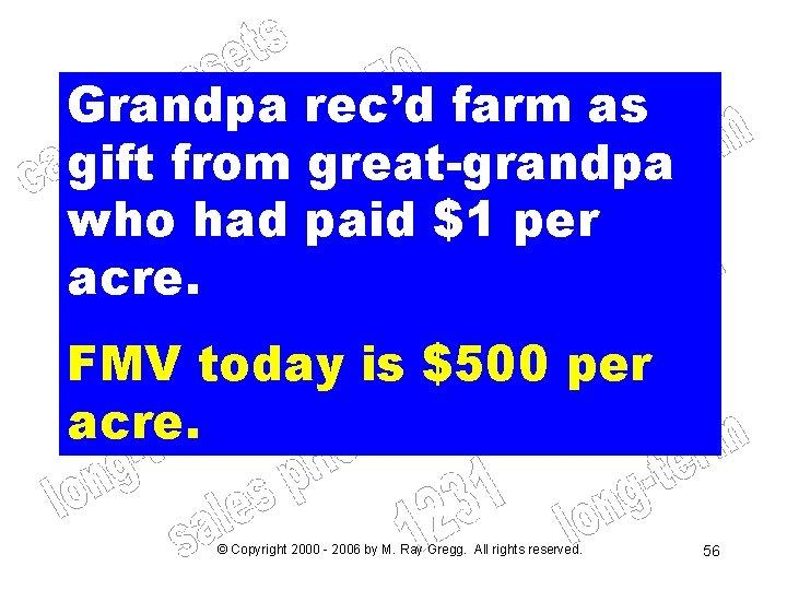 Grandpa rec'd farm as gift from great-grandpa who had paid $1 per acre. FMV