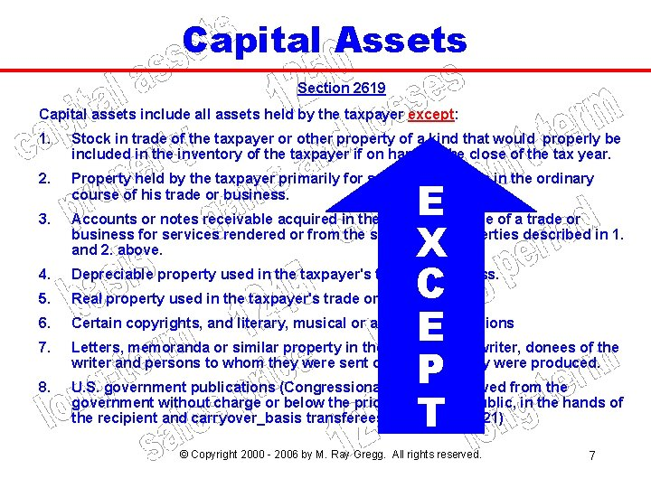 Capital Assets Section 2619 Capital assets include all assets held by the taxpayer except: