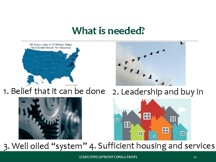 What is needed? 1. Belief that it can be done 2. Leadership and buy