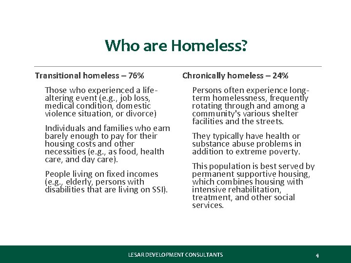 Who are Homeless? Transitional homeless – 76% Chronically homeless – 24% • Those who