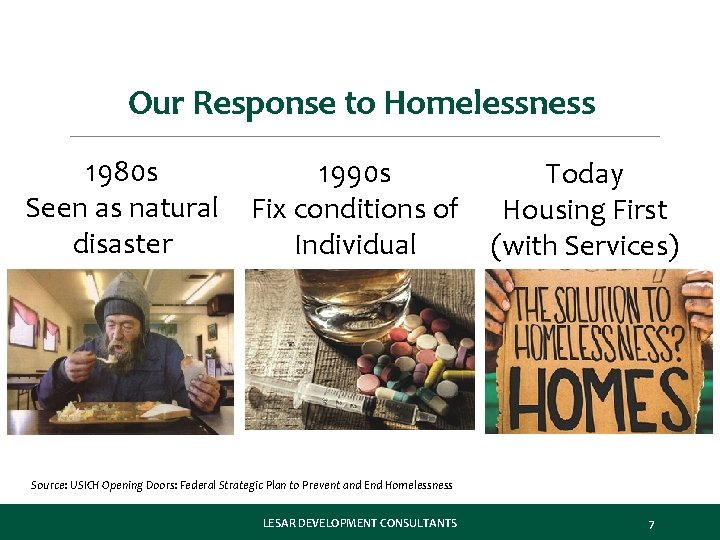 Our Response to Homelessness 1980 s Seen as natural disaster 1990 s Fix conditions