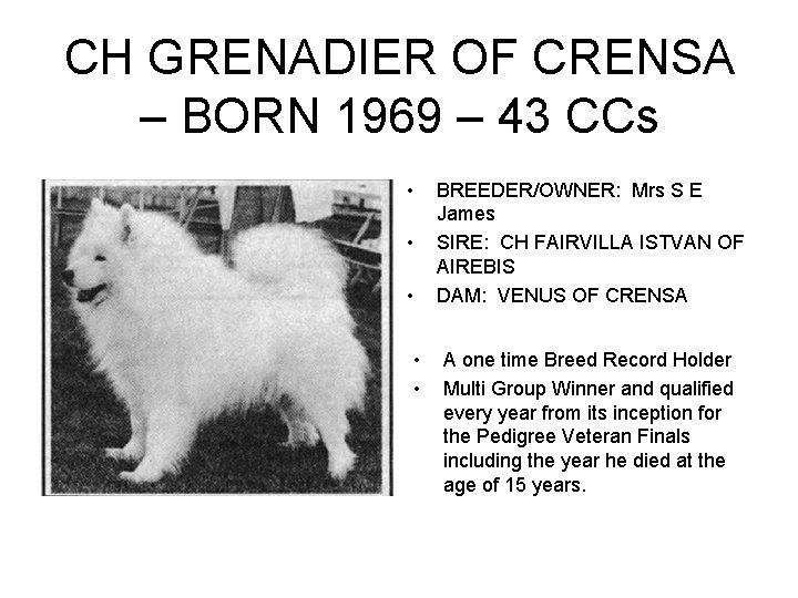 CH GRENADIER OF CRENSA – BORN 1969 – 43 CCs • • • BREEDER/OWNER: