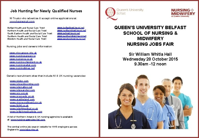 Job Hunting for Newly Qualified Nurses NI Trusts who advertise & accept online applications