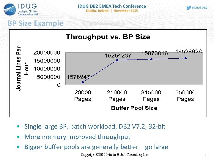 BP Size Example • Single large BP, batch workload, DB 2 V 7. 2,