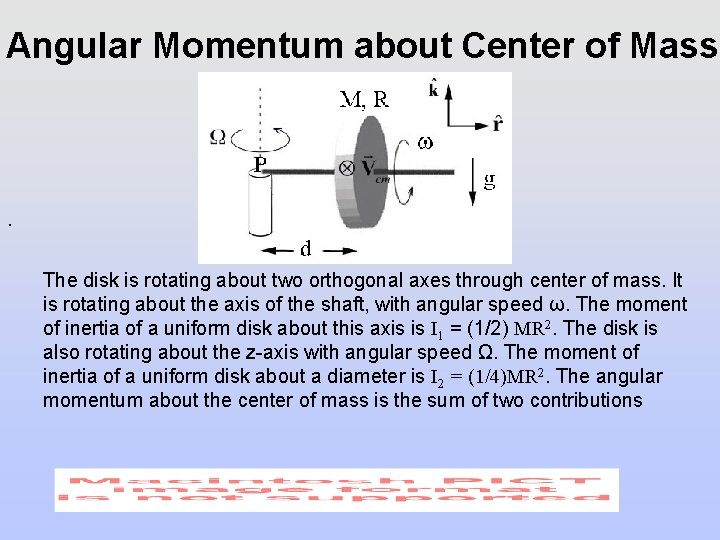 Angular Momentum about Center of Mass . The disk is rotating about two orthogonal