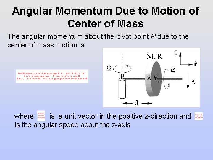 Angular Momentum Due to Motion of Center of Mass The angular momentum about the